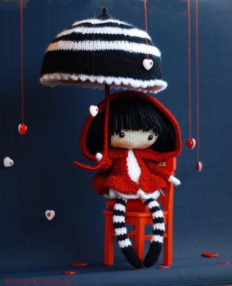 Ravelry: Eugene. The Doll in striped stockings with big umbrella. pattern by Tatyana Korobkova