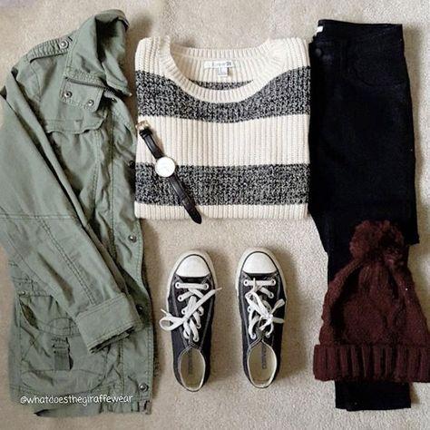 Idée de tenue décontractée à copier : pull rayé, blouson kaki, bonnet bordeaux à pompon, Converse noires >> http://www.taaora.fr/blog/post/tenue-hiver-instagram-pull-rayures-parka-vert-kaki-bonnet-bordeaux-baskets-converse-basses-noires #outfit #look #style