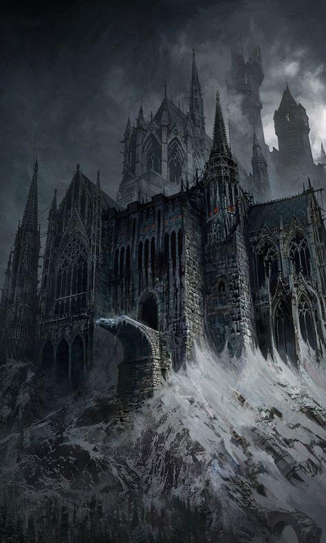 Fantasy, dark, castle, art Wallpaper