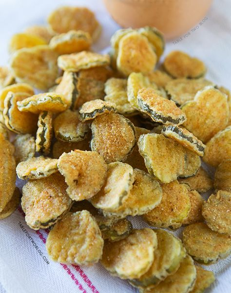 You need fried pickles at your Memorial Day cookout!! Recipe on tablefortwoblog.com