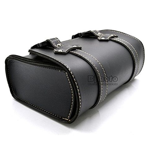 BJ Global New Black Universal Motorcycle Saddle Luggage Leather Bag Storage for Harley Davidson
