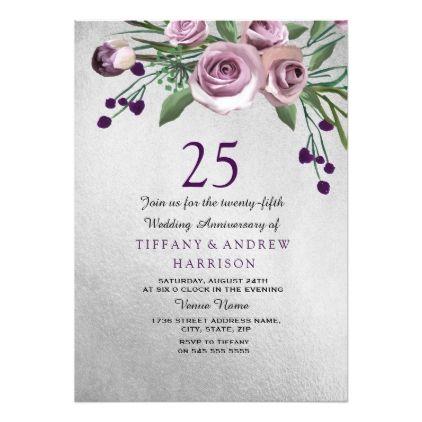 Purple Rose Silver 25th Wedding Anniversary Invite Zazzle
