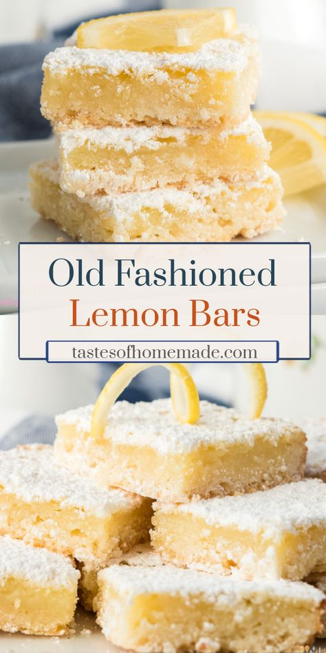 Old fashioned lemon bars, just like Grandma made. Tangy lemon curd on a light, flaky shortbread crust and dusted in powdered sugar. These squares are easy, quick and delicious. Mini Desserts, Light Desserts, Delicious Desserts, Pudding Desserts, Easy Desserts To Make, Healthy Lemon Desserts, Best Desserts, Lemon Bars Healthy, Lemon Pudding Cake