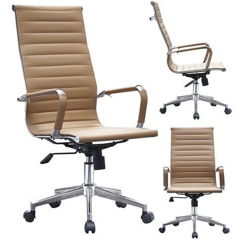 2xhome Tan Modern Designer Ribbed Pu Leather Tilt Adjustable Chair
