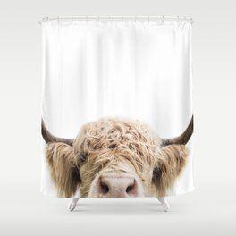 Peeking Highland Cow Shower Curtain Highland Cow Cow Curtains