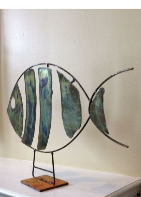 by on Etsy Abstract Scrap Metal Sculpture Fish.
