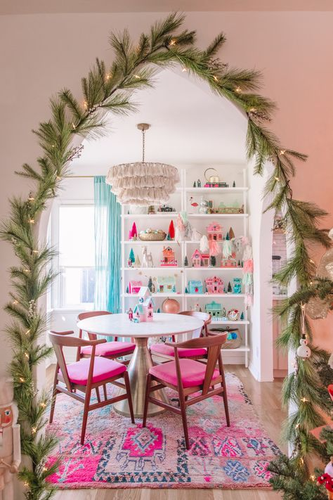 Our 2019 Holiday Home Tour Christmas Tree Forest, Pink Christmas, Christmas Themes, Vintage Christmas, Christmas Holidays, Whimsical Christmas, Christmas Villages, Colorful Christmas Decorations, English Christmas