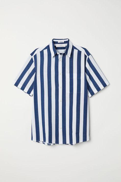 Regular Fit Short-sleeve Shirt   Dark blue/white striped   MEN   H&M US
