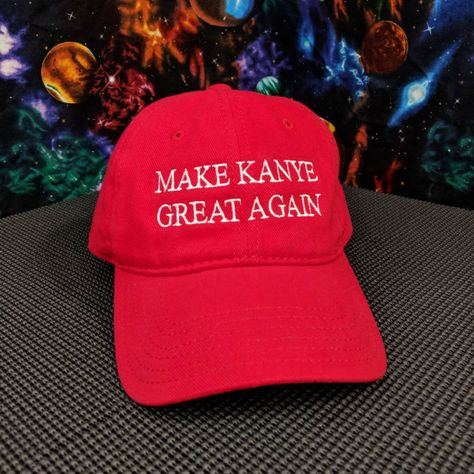 """f04226fcc6 Maybe we can give him a hand and show our support with this """"Make Kanye  Great Again"""" embroidered red 100% cotton hat!  Kanye  Kanye2020 ..."""
