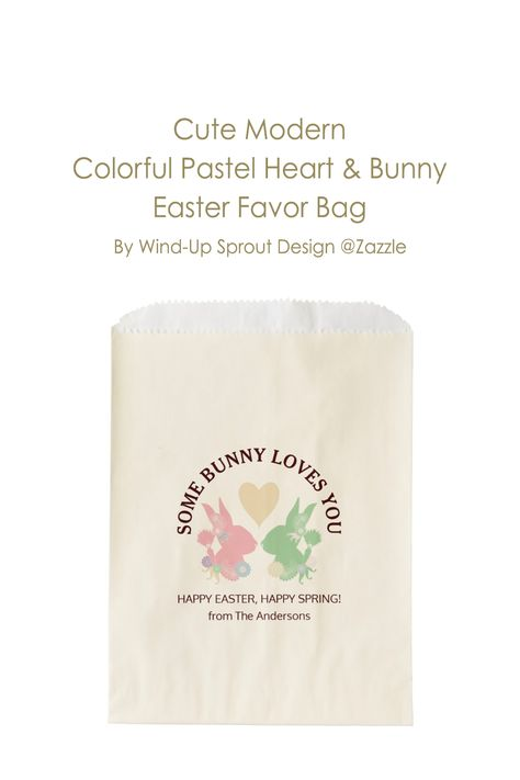 "Cute Modern Colorful Pastel Heart and Bunny Easter Favor Bag | Easter Bunny Paper Gift Bags | HAPPY EASTER, HAPPY SPRING! | Dimensions: 5.75"" x 8"" 