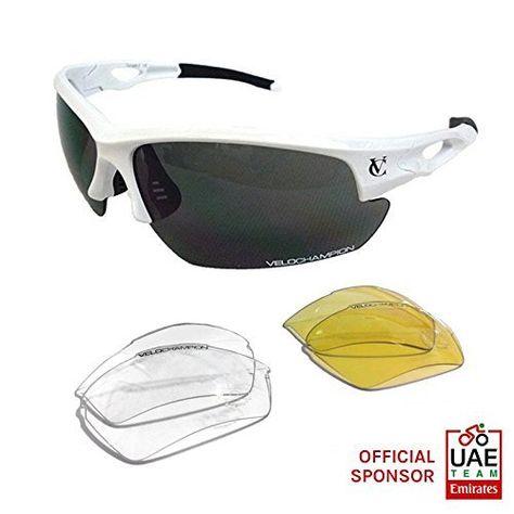 VeloChampion Tornado Sports Sunglasses - White with 3 Sets