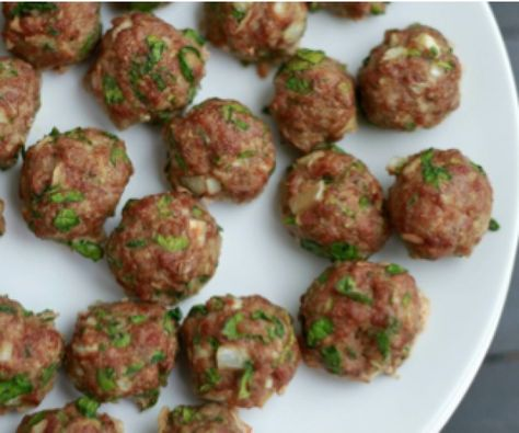 Spinach Cilantro Meatballs.  An easy, nutrient-dense dinner idea that freezes well for later. #paleo #glutenfree