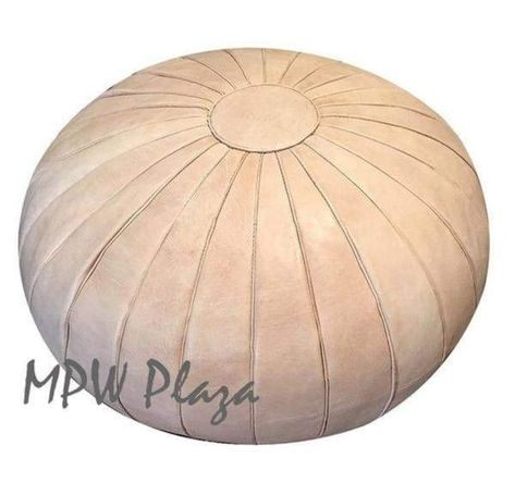 """◆ Crafted exclusively by MPW Plaza®◆ Ships from the USA◆ Premium Moroccan Leather Pouf ◆ Size: 29"""" W x 19"""" H ◆ Sold already Stuffed No Stuffing Leather Pouf Ottoman, Moroccan Leather Pouf, Moroccan Pouf, Modern Moroccan, Ottoman Footstool, Ottoman Cover, Ottomans, Ottoman Furniture, Armchairs"""