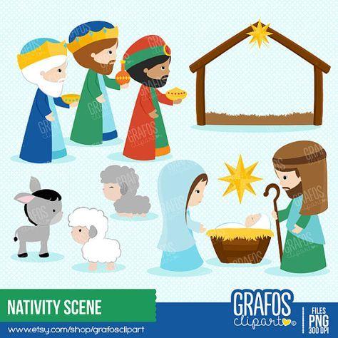 Nativity Scene Digital Clipart Set Navidad Por Grafosclipart Nativity Scene Nativity Clipart Christmas Clipart