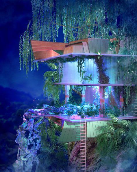 vaporwave interior about a year into di - vaporwave Aesthetic Rooms, Aesthetic Art, Aesthetic Pictures, Future House, My House, Design Apartment, Fantasy Landscape, Retro Futurism, Dream Rooms
