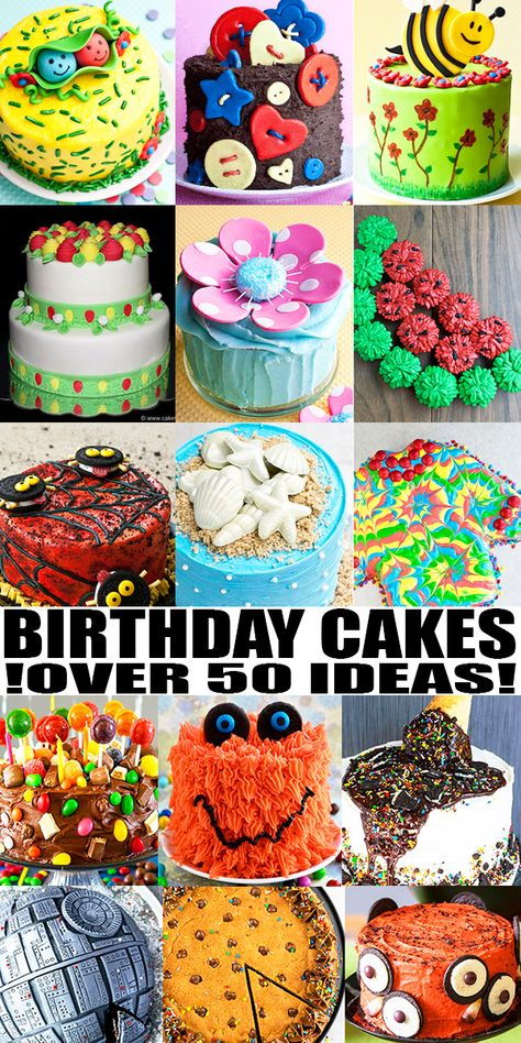 BIRTHDAY CAKE IDEAS, RECIPES AND TUTORIALS- Learn how to make lots of quick and easy homemade birthday cakes for kids (boys and girls) and adults (men and women). Decorate with colorful buttercream frosting/ icing, chocolate, candies, fondant or store-bought toppers. From CakeWhiz.com #cakedecorating #cakes #dessert #birthday #kids