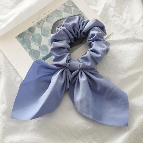 New Chiffon Bow Scrunchie Hair Scarf - Blue 2