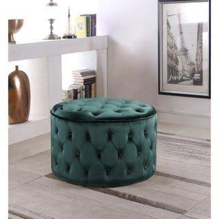 Chic Home Velvet Upholstered Ottoman (Green)