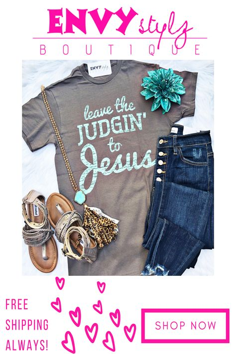 Leave the judging to Jesus but leave the style to us! This crew neck tee is crazy awesome and pairs well with a number of things! The teal lettering on this charcoal grey graphic tee is simple and gorgeous!                                          Hope in your husbands GTO and cruise down memory lane in your go to throw on a shirt.  Tour the brewery guilt free and have some extra samples. Go out and eat that 4th bowl of chips and salsa and never worry about what your party or the waiter thinks. Vinyl Shirts, Bleach Shirts, Mom Shirts, Cute Shirts, Shirts With Sayings, Cricut Creations, Cricut Vinyl, Diy Shirt, Thing 1