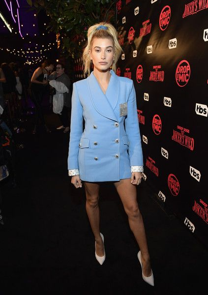 Host Hailey Baldwin at TBS' 'Drop the Mic' and 'The Joker's Wild' Premiere Party.