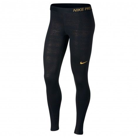 Nike Pro Metallic Dots Tight dames black wheat gold   Nike ...