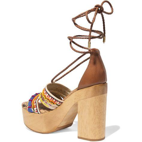a11b50e79cd Sam Edelman Mel embellished canvas platform sandals ( 255) ❤ liked on  Polyvore featuring shoes