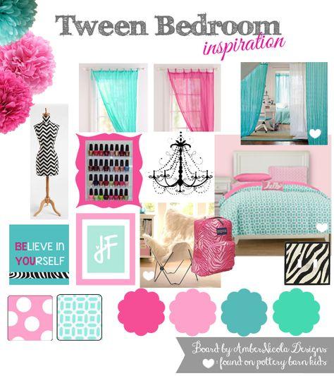 Tween bedroom inspiration in pink, blue, aqua, teal and a splash of black zebra.  Enjoy! =o)