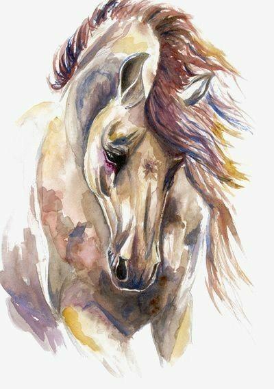 Aquarell Malerei Grau Weiss Schwarz Pferd Mit Blauem Hintergrund