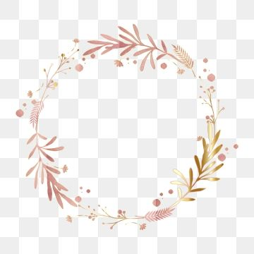 Pink Gold Leaf Floral Wreath Border Border Clipart Floral Luxurious Png And Vector With Transparent Background For Free Download Floral Wreath Watercolor Floral Border Design Floral Border