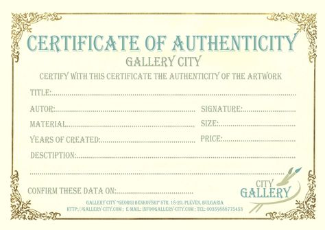 Certificate of Authenticity for artwork Dreaming of a Stutz Studio - new certificate of authenticity painting