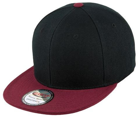 8694fa5e3c7 Blank Adjustable Two-Tone Snapback Hat made from 100% Acrylic Wool in  Black Burgundy. Snapbacks are in visor colors.