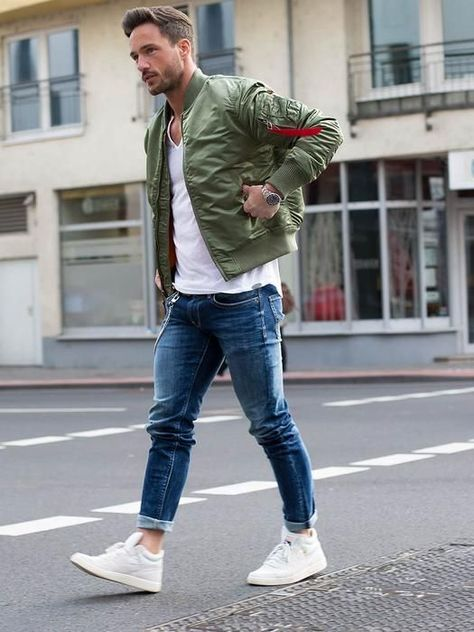 Men& Casual Fall Outfit for Fall. White sneakers, washed out jeans - Men's Casual Styles
