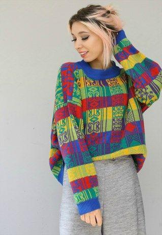 73a7004d1e56 Vintage+Oversized+Colourful+Patterned+Jumper