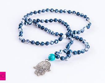 Men's Necklace, Hamsa Jewelry, Boho Necklace, Mala Necklace, Tibetan
