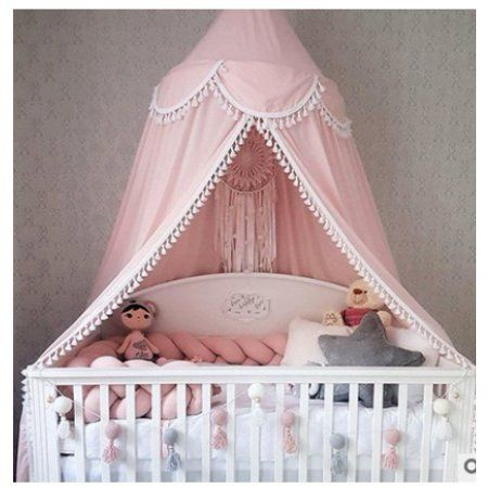 Kids Child Baby Bed Tassel Canopy Bedcover Mosquito Mesh Round