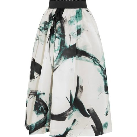 b113e9d01 DOLCE & GABBANA Printed silk-twill midi skirt (1,820 PEN) ❤ liked on  Polyvore featuring skirts, mid-calf skirt, midi skirt, dolce gabbana skirt,  pleated ...