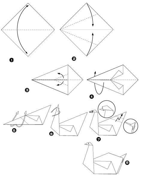 оригами из бумаги лебедя белого схема сборки видео