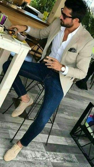 Men's Beige Blazer, Navy and White Gingham Dress Shirt, Blue Skinny Jeans, Brown Leather Tassel Loafers   Men's Fashion   Lookastic.com