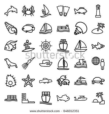 Ocean icons set. set of 36 ocean outline icons such as fish, crab, turtle, seal, lighthouse, boat, cargo ship, harbor, starfish, island, helm, sailboat, shell, surfing