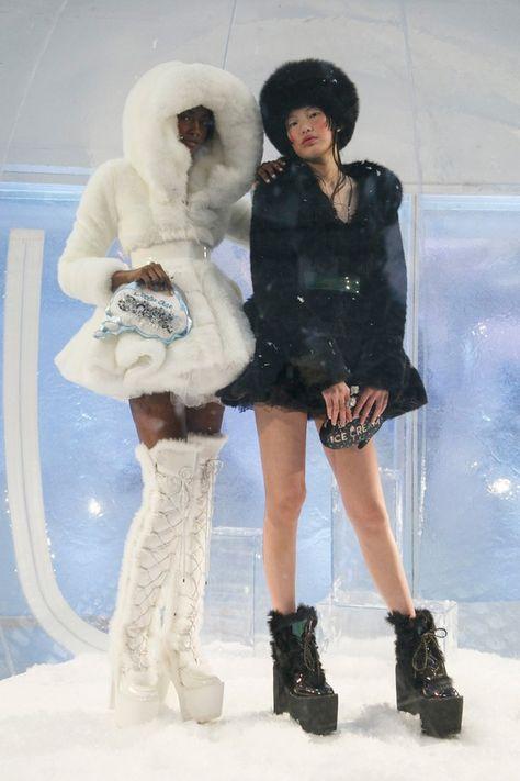 "aisselectric: "" unleonardo: ""Sophia Webster Fall 2017 "" This is giving my such Bratz ski chalet vibes "" Look Fashion, High Fashion, Fashion Show, Fashion Outfits, Fashion Design, Winter Fashion, Gyaru Fashion, Purple Fashion, Couture Fashion"