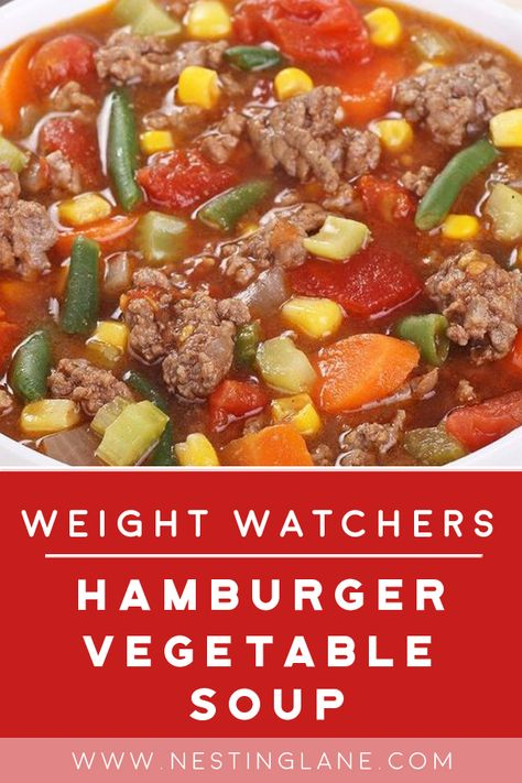 Weight Watchers Hamburger Vegetable Soup Recipe with ground beef chicken broth onion soup mix tomato sauce celery onion mixed vegetables and macaroni pasta. A quick and easy comfort food ready in 30 minutes with 6 WW Freestyle Points. Weight Watcher Dinners, Plats Weight Watchers, Weight Watchers Meal Plans, Weight Watchers Diet, Hamburger Vegetable Soup, Vegetable Soup Recipes, Cabbage Soup Recipes, Tomato Vegetable, Weight Watcher Vegetable Soup