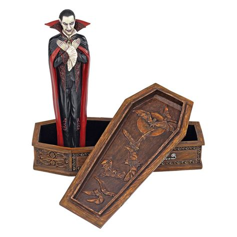 Design Toscano 8 in. The Vampire Coffin of Dracula Statue