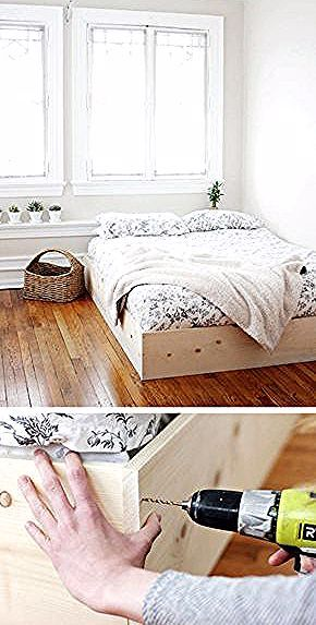 Minimalistisches Bett Bauen Anleitung Diy In 2020 Diy Bed Diy Storage Bed Minimalist Bed