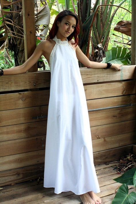 2b0fb681c5 100% Cotton White Backless Nightgown Lace Halter Bridal Night Gown ...