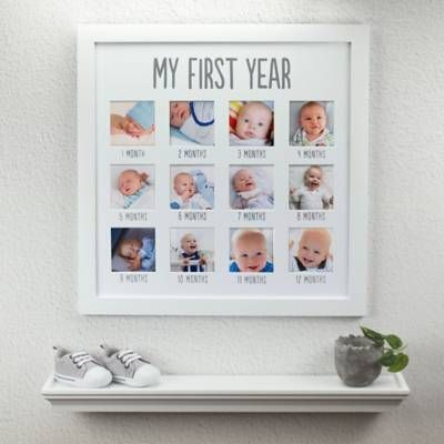 Pearhead 12 Photo First Year Wood Frame In White Baby Photo Frames Baby Picture Frames Baby Frame