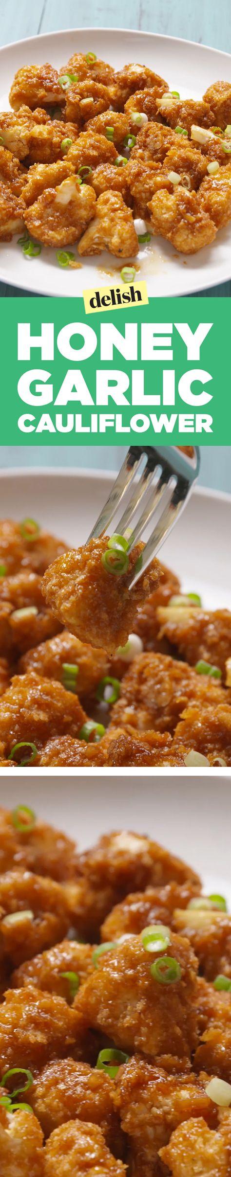 Honey garlic cauliflower is cauliflower being its best self. Get the recipe on Delish.com.