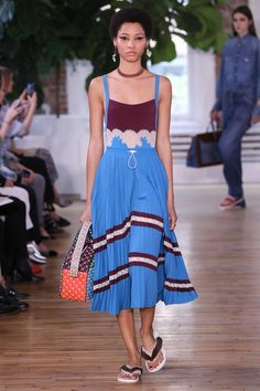 burgundy blues ~ Valentino Resort 2018 Fashion Show - Lineisy Montero