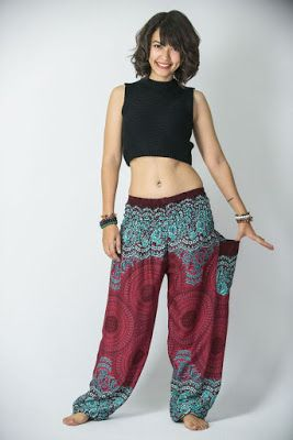 Fair Trade Hippy Boho Indian Made Aztec Casual Acrylic Wool Trousers Blue