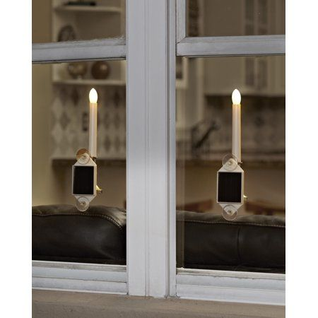 Solar Holiday Window Candles Set Of Two White Window Candles Christmas Window Decorations Christmas Window Candles
