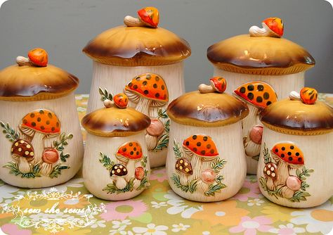 Sears and Roebuck Merry Mushrooms Canister Set - 4 Canisters - Vintage Ceramic Kitchen Storag Vintage Dishes, Vintage Kitchen, Vintage Items, 70s Kitchen, Retro Kitchens, Canister Sets, Canisters, 70s Decor, Funky Decor